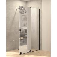Inloopdouche met Schuifdeur BWS Pure Day 140x200 cm Rechts Spiegelglas Zwart