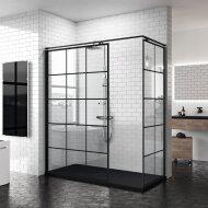Inloopdouche Novellini Kuadra H Squares 80x200 cm Helder Glas Mat Zwart Raster