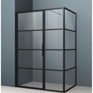 Douchecabine Driedelig Lacus Tremiti 80 6mm Helder Glas Mat Zwart Aluminium Profiel
