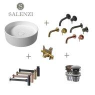 Salenzi Waskomset Hide Circle 40x12 cm Mat Wit (Keuze Uit 4 Kleuren Kranen)