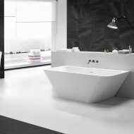 BWS Half Vrijstaand Bad Solid Surface Type3 179x84.5x57.5 cm Mat Wit
