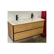 Badkamermeubel Casajoy Wood 120x46x55 cm Eiken Met Keramieken Wastafel Wit