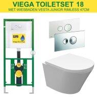 Viega EcoPlus Toiletset 18 Wiesbaden Vesta Junior Rimless 47cm met Visign for Style 10 drukplaat
