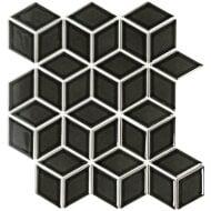 Mozaïek Paris 26.6x30.5 cm Geglazuurd Porselein, Cubic En Glanzend Zwart (Prijs Per 0.81 m2)