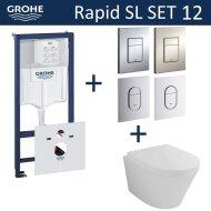 Grohe Rapid SL Toiletset set12 Wiesbaden Vesta 52 cm met Grohe Arena of Skate drukplaat