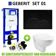 Geberit UP320 Toiletset set01 Basic Smart Met Matzwarte Drukplaat