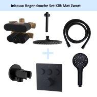 Inbouw Regendouche Set Klik 3-Wegs Mat Zwart (Plafonduitloop)