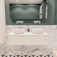 Badkamermeubel BWS Madrid Wit 120 cm met Massief Topblad en Keramische Waskom Dubbel (0 kraangaten)