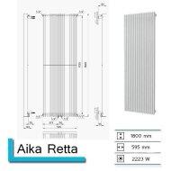 Handdoekradiator Aika Retta 1800 x 595 mm Donker grijs structuur