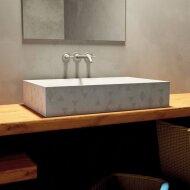 Opzet Wastafel Urbi et Orbi Traccia Beton 70x45x14 cm Licht Grijs met Medium Grijs Patroon