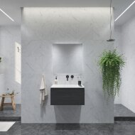 Badkamermeubelset Gliss Eros 70 cm Met Wastafel Zwart Eiken