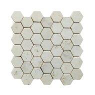 Mozaiek Hexagon Cream Y 30x30 cm Marmer Wit Creme rijs (doosinhoud 1 m2)