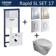 Grohe Rapid SL Toiletset set17 Gustavsberg Saval Vlakspoel met Grohe Arena of Skate drukplaat