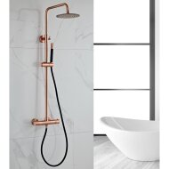Opbouw Regendouche Set BWS Copper Thermostatisch Staaf Handdouche Geborsteld Koper 20 cm