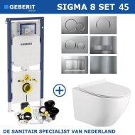 Geberit Sigma 8 (UP720) Toiletset set45 Mudo Rimless Met Sigma Drukplaat