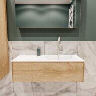 Badkamermeubel BWS Madrid Washed Oak 100x45x30 cm Mat Witte Solid Surface Wastafel Rechts (1 kraangat)
