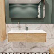 Badkamermeubel BWS Madrid Washed Oak 120x45x30 cm Mat Witte Solid Surface Wastafel Links (2 lades, 1 kraangat)