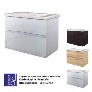 Badkamermeubel Best Design Quick-Greeploos 80x56x44cm Onderkast + Wastafel (3 kleuren)