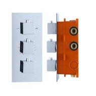 Inbouw Thermostaat Best Design Sano box 3 Weg 12 Vierkante Knoppen Chroom
