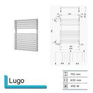 Handdoekradiator Lago 750 x 600 mm Donker grijs structuur