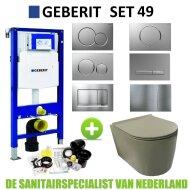 Geberit UP320 Toiletset set49 Civita Rimless Mat Legergroen Sigma Drukplaat