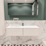 Badkamermeubel BWS Madrid Wit 120x45x30 cm Mat Witte Solid Surface Wastafel Links (2 lades, 0 kraangaten)