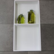 Inbouwnis Luca Sanitair 59,5x29,5x8 cm Polystone 2 Vakken Rechthoek Glans Wit