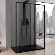 Douchecabine Lacus Torcello 140 cm Helder Glas Met Schuifdeur Aluminium Profiel Zwart (2 Zijwanden)