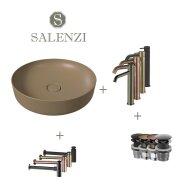 Salenzi Waskomset Form 45x12 cm Incl Hoge Kraan Mat Taupe (Keuze Uit 4 Kleuren Kranen)