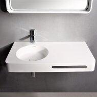 Wastafel Ideavit Solidbrio 90x48x14 cm Solid Surface Mat Wit