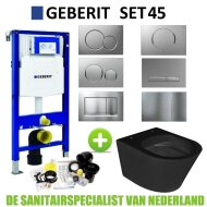 Geberit UP320 Toiletset set45 Wiesbaden Vesta Rimless Mat Zwart Met Sigma Drukplaat