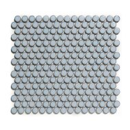 Mozaïek Venice Pennyround 31.5x29.4 cm Geglazuurd Porselein, Rond Glanzend Blauw Grijs Met Rand (Prijs Per 0.93 m2)