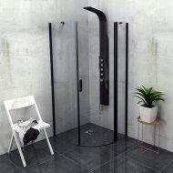Douchecabine Sapho Zoom Line Black Kwartrond Draaideur 90x90 cm 6 mm Gecoat Glas Mat Zwart Rechts
