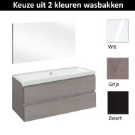 Badmeubelset Differnz The Collection met Spiegel 100x43x61 cm (Wit, Grijs en Zwart)