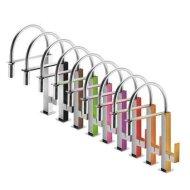 Keukenmengkraan Tres Top Colors 1-Hendel met uittrekbare handdouche Uitloop Gebogen 21 cm Vierkant Geel Chroom