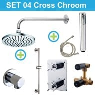 Wiesbaden inbouw regendouche set 04 Cross Chroom