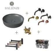Salenzi Waskomset Form 45x12 cm Mat Antraciet (Keuze Uit 4 Kleuren Kranen)