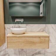 Badkamermeubel BWS Madrid Washed Oak 100 cm met Massief Topblad en Keramische Waskom Links (0 kraangaten)