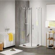 Douchecabine Get Wet by Sealskin Kwartrond 2 swingdeuren 90x90cm Zilver Hoogglans Helder glas