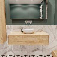 Badkamermeubel BWS Madrid Washed Oak 120 cm met Massief Topblad en Keramische Waskom (0 kraangaten) OUTLET