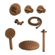 Thermostatisch Inbouwdoucheset Brauer Copper 30cm Hoofddouche Plafondarm 3 Standen Handdouche Koper