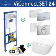 Villeroy & Boch ViConnect Toiletset set24 Wiesbaden Vesta Rimless 52 cm met ViConnect drukplaat