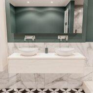 Badkamermeubel BWS Madrid Wit 150 cm met Massief Topblad en Keramische Waskom Dubbel (0 kraangaten)