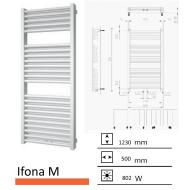 Badkamerradiator Ifona M 1230 x 500 mm Parelgrijs (Pearl grey)