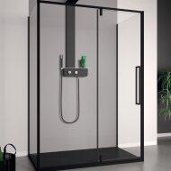 Douchecabine Lacus Murano 130 cm Helder Glas Met Klapdeur Aluminium Profiel Zwart (2 Zijwanden)