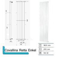 Handdoekradiator Covallina Retta Enkel 1800 x 450 mm Mat Zwart