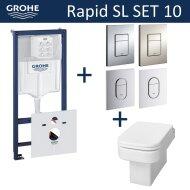 Grohe Rapid SL Toiletset set10 Wiesbaden Carré met Grohe Arena of Skate drukplaat