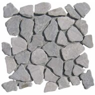 Mozaiek Light grey marmer scherven getrommeld mixed maten (prijs per matje)