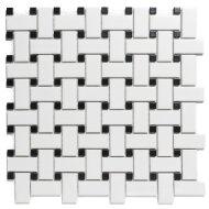 Mozaïek Paris 30x30 cm Geglazuurd Porselein, Basketweave Mat Zwart En Wit (Prijs Per 0.90 m2)