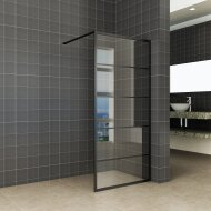 Inloopdouche Horizon 90x200 cm Inclusief Mat-Zwart Raster en NANO Glas